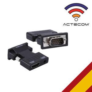 ACTECOM® Adaptador HDMI a VGA macho + Audio TV AV HDTV Conversor Adaptador jack