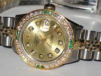 Womens Rolex Datejust Oyster Perpetual 18K Gold Diamonds / Emeralds Everywhere