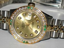 Womens Rolex Datejust Oyster Perpetual 18K Gold Diamonds / Emeralds Everywhere