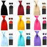 Men's Satin Solid 8cm Wide Necktie Handkerchief Pocket Square Cufflinks Set