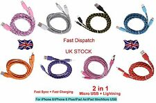 2in1 MICRO USB BRAIDED SYNC DATA CHARGE CABLE IOS9 iPHONES 5/6/7 ANDROID SAMSUNG