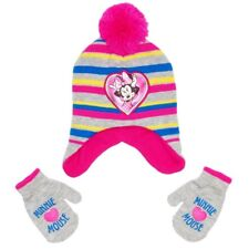 882a687b MINNIE MOUSE Fleece-Lined Knit Peruvian Winter Hat & Mitten Set w/ Pom-