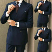 Wide Lapel Peak Navy Blue Tuxedos Men's Wedding Party Formal Prom Groom Suits