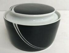 Vtg Block Spal Jewel Portugal Black Pearl Covered Sugar Bowl Lid Jack Prince EUC