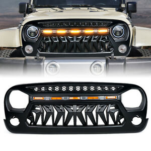 Xprite Black Venom Grille w/ Amber LED Running Lights for 07-18 Jeep Wrangler JK