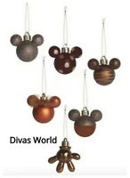 Disney Mickey Mouse Baubles 6 Pack Bronze Xmas Celebration Gift Set Box Primark