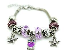 Purple Murano Glass Bracelet Owl Crystal Brass Charm Bangle Star Bead Ladies