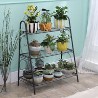Wrought Iron 3-Tier Metal Plant Stands Flower Pot Rack Holder Indoor Outdoor