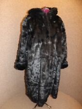 NEW Showstopper Jet Black Plush Mink Full Length Hooded Faux Fur Coat Sz 18/20