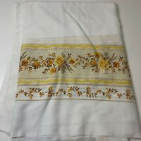 vintage tablecloth white with brown yellow floral design fall colors rectangle