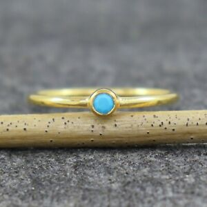 Natural Turquoise 18K Gold Plated Sterling Silver Wedding Gift Ring US 4 to 15