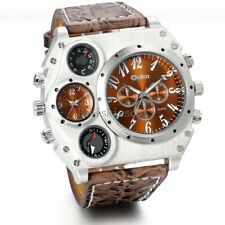 Large ALLOY OULM SILVER PLATED 4x Dials BROWN Face Leather Band WATCH NEW(R4=C)