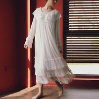 Lady Lolita Tiered Nightdress Victorian Nightwear Sleepwear Lace Sheer Tulle New