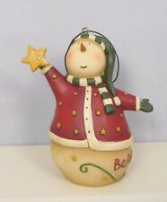 Believe Snowman ornament holding a gold star - New Blossom Bucket #50720