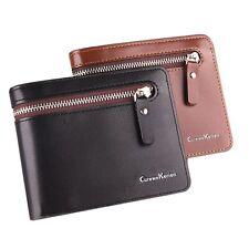 Men's Short PU Leather Wallets Zipper Clutch Bag Coin Purse Small Trendy Wallet