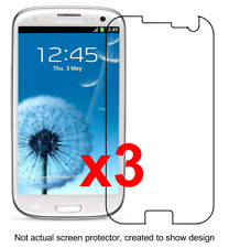 3x Samsung Galaxy S3 Screen Protectors I9300/T999/I535/L710/I747 w/ cloth