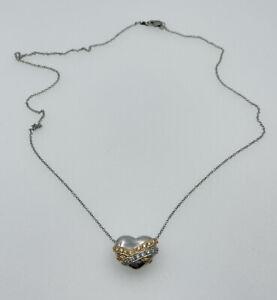 Vintage Platinum & 18k Gold Diamond Heart Necklace Signed Artco