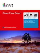 A3 High Glossy Inkjet Paper Photo Paper Printing 260gsm - 60 Sheets Uinkit AU