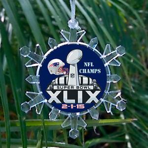 New England Patriots Super Bowl 49 Snowflake Holiday Christmas Tree Ornament