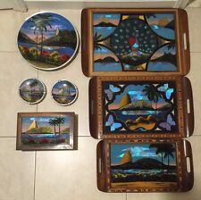 LOT X 7 SET Trays JEWELRY BOX Ash Tray BRAZIL CARLOS ZIPPERER SOBR BROWN Wood