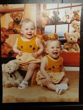 Vintage 70's Cabinet Photo - Twin Baby Girls with Teddy Bears - 8x10