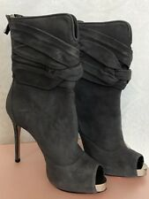 Francesco Sacco Boot Gray Suede Gold Metal Peep Toe Leather  New With Box 39