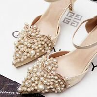 2Pcs Pearl Rhinestones Flower Shoe Clip Removable Pointed Shoes Acces Craft Acc