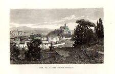 Stampa antica ROMA vista dal Gianicolo Villa Lante 1876 Old print Rome Engraving