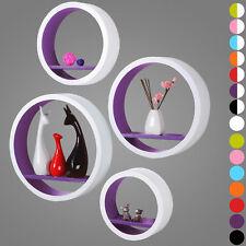 Étagère murale ronde en bois MDF étagère CD DVD murale Blanc Pourpre FRG9231dla