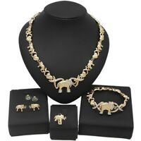 #64 HUGS & KISSES Elephants xo Set Necklace bracelet Earrings Ring GF