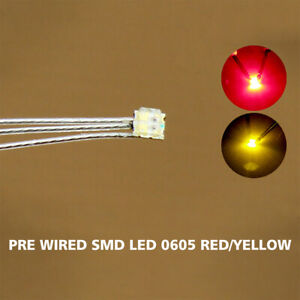 20pc Pre-soldered litz wired leads Bi-color RED/YELLOW SMD Led 0605 NEW DT0605RY