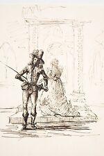 Dessin à l'encre brune XIX° Scène avec Mousquetaire et Dame de Qualité