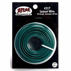 Atlas 317 50' of 20 Gauge Stranded Layout Wire, Green