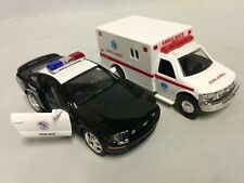 "2 pcs, Ford Mustang GT Police And Ambulance Rescue Emergency Car 5"" Die Cast Toy"