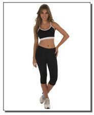 "35""-38"" 3XL BLACK Capri Workout Leggings Yoga Gym Casual Wear"