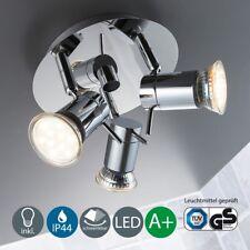 Badlampe LED Decken-Leuchte Lampe Badezimmer Chrom IP44 GU10 3-flammig B.K.Licht