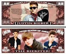 JUSTIN BIEBER ! BILLET 1 MILLION DOLLAR US ! avec Signature Collection Pop Star