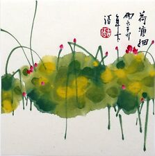 "Chinese small painting lotus 6.7x6.7"" water lily birds flower ORIGI abstract art"
