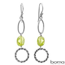 BOMA 925 STERLING SILVER AND YELLOW CUBIC ZIRCONIA HOOK DANGLE CIRLCLE EARRINGS