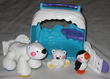 Fisher Price Posable Toy Polar Bear w Baby - Plus Penguin & Igloo Hut 4 Piece