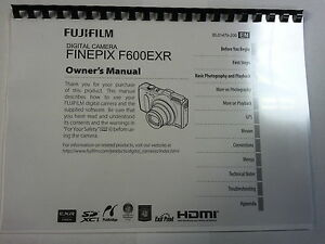 FUJIFILM F600EXR PRINTED INSTRUCTION MANUAL USER GUIDE 153 PAGES A5