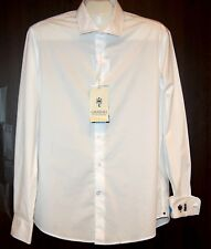 Ganesh Men's White  Cotton Soft Embroidery Design Shirt Size 2XL