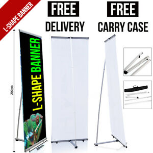 L-Shape Banner with Printed Artwork - Pop/Roll/Pull up Exhibition Display Stand