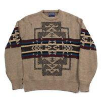 VTG 80s Pendleton USA Western Aztec High Grade Wool Blanket Sweater Men's Large