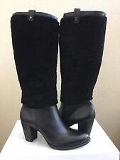 UGG AVA EXPOSED FUR BLACK KNEE HIGH HEEL BOOT US 7.5 / EU 38.5 / UK 6 - NIB
