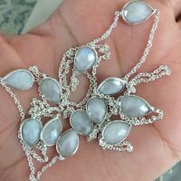 "NATURAL PEAR RAINBOW MOONSTONE 925 STERLING SILVER LONG CHAIN NECKLACE 36"" MALA"