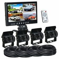 """9"""" QUAD SPLIT SCREEN MONITOR 4x BACKUP REAR VIEW CCD CAMERA SYSTEM FOR TRUCK RV"""