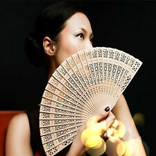 New Fashion Folding Carved Bamboo Original Wooden Hand Fan Wedding Bridal Party