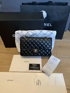Authentic CHANEL Black Lambskin Medium Classic Double Flap Hand Bag With RECEIPT