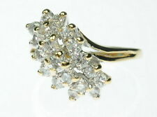 Ladies 14K Solid Yellow Gold Diamond Cocktail Cluster Estate Ring J214037